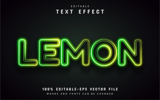Lemon text effect neon style