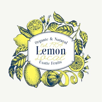 Lemon tree banner. hand drawn vector fruit illustration. engraved style. retro citrus