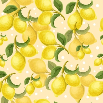 Lemon tree decorative seamless pattern