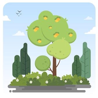 レモンの木の果実自然イラスト風景青空の背景