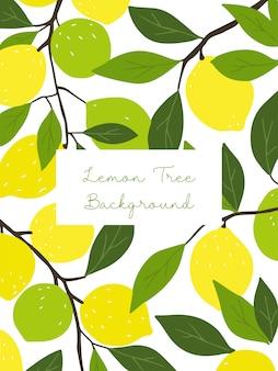 Lemon tree illustration with empty frame