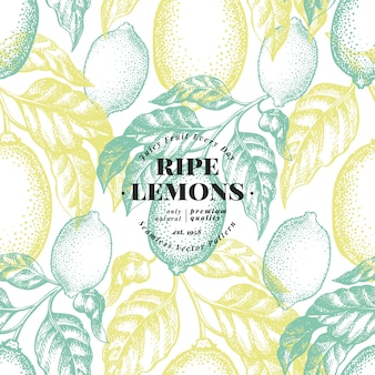 Lemon tree seamless pattern.