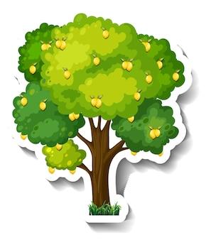 白い背景の上のレモンの木のステッカー