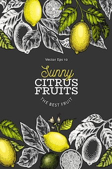 Lemon tree  template. hand drawn  fruit illustration on dark background. engraved style . vintage citrus design.