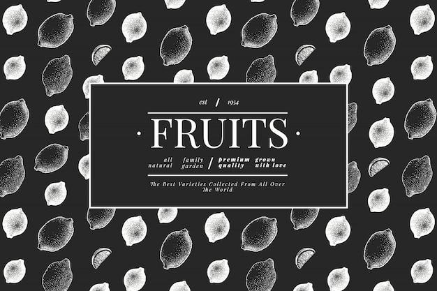 Шаблон лимонного дерева. нарисованная рукой иллюстрация плодоовощ на доске мела. выгравированный стиль. урожай цитрусовых.