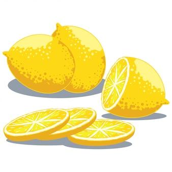 Лимон целый, нарезанный пополам. установить на белом фоне.