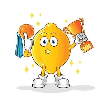 Лимонный победитель с трофеем и медалью. мультипликационный персонаж