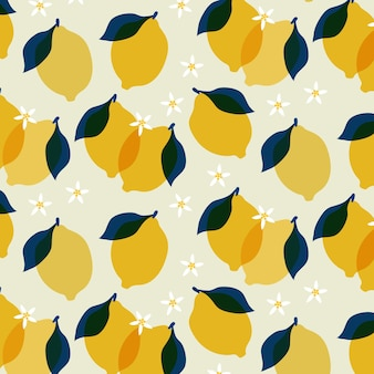 Lemon with flowers seamless pattern