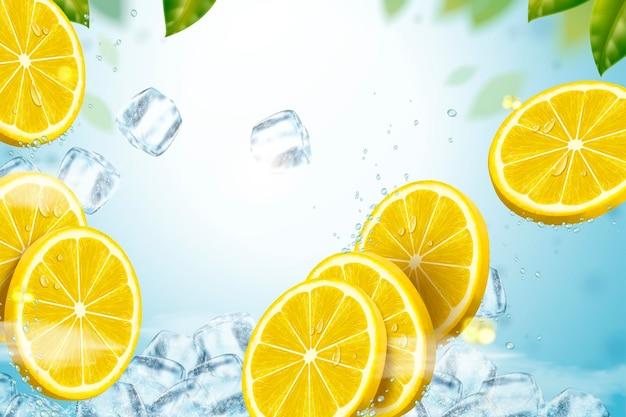 녹색 잎을 가진 3d 그림에서 얼음 조각과 레몬