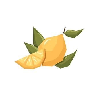 Лимон с ломтиком и веткой в плоском геометрическом и абстрактном стиле Premium векторы