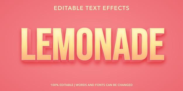 Lemonade 3d style editable text effect