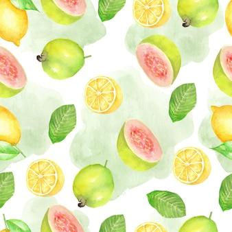 葉の水彩画のシームレスなパターンとレモネードとグアバ