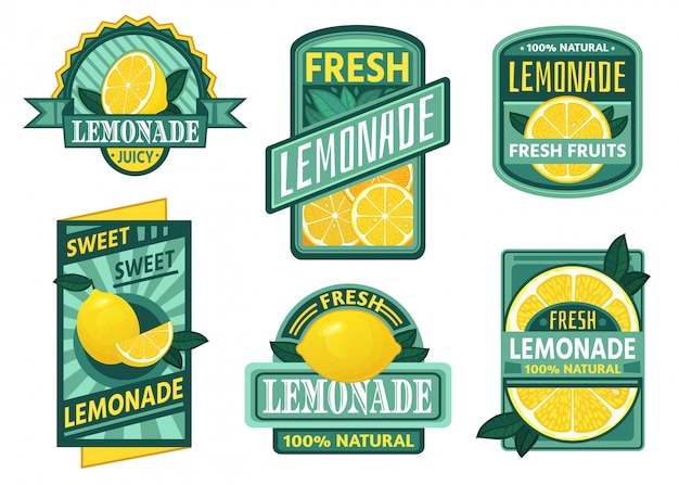 Lemonade badge. lemon syrup, fresh lemonades emblems and lemons fruits juice drink vintage badges  set