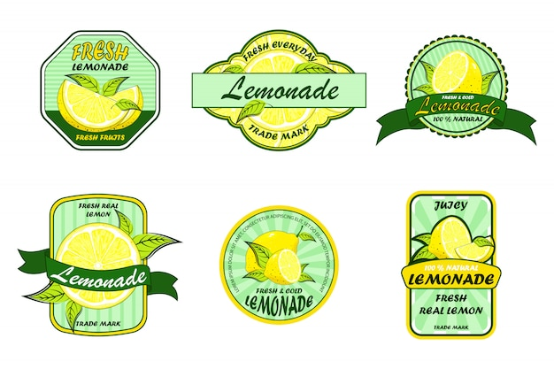 Lemonade badges. labels with lemon. colorful logo illustrations