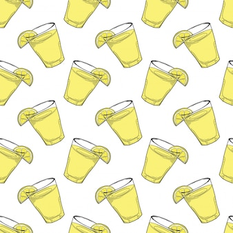 Lemonade cup with lemon slice seamless pattern in doodle and sketch style.
