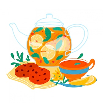 レモネード飲み物のガラスの水差し、白、漫画イラストで隔離のクッキーでさわやかな自然健康飲料。グラスティーレモンスライス。