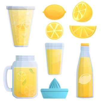 Lemonade icons set, cartoon style