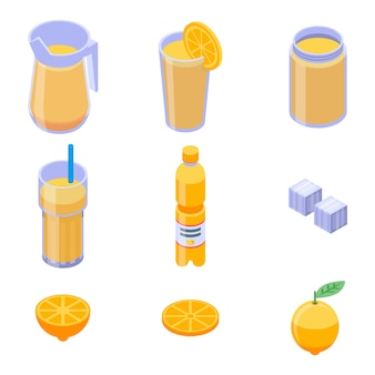 Lemonade icons set, isometric style