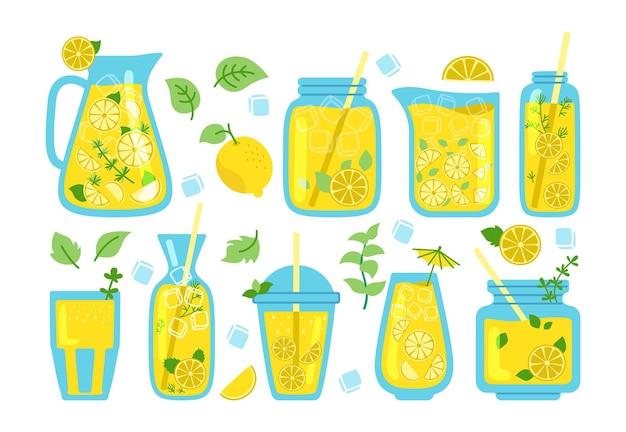 Лимонад в банке, мятные коктейли мультяшный набор. кувшин для напитков с соломкой, долькой лимона.
