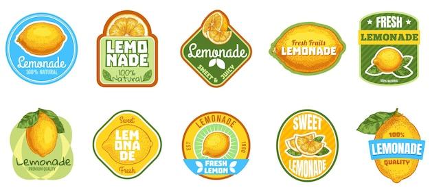 レモネードラベル。ナチュラルレモンジュース、フレッシュフルーツレモネードドリンクバッジ、夏の甘い飲み物ステッカーセット。