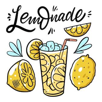레모네이드 레터링 문구와 신선한 여름 음료. 다채로운 그림. 흰색 배경에 고립. 포스터, 배너, 인쇄 및 웹 디자인.