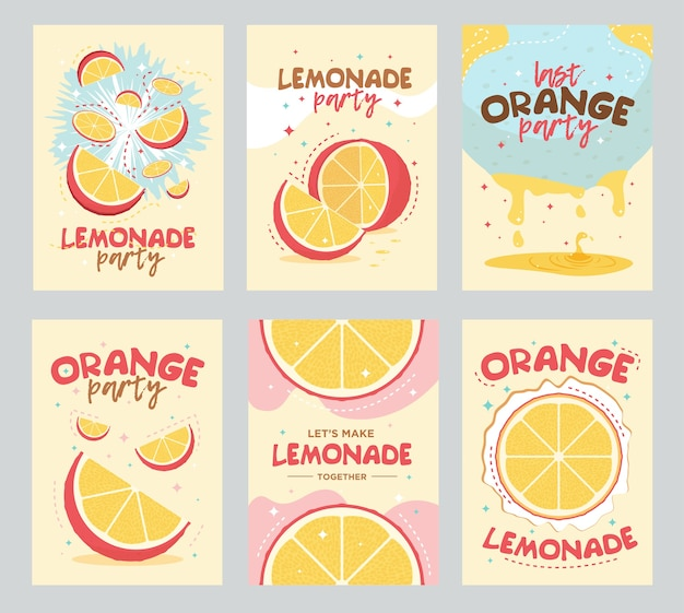 Lemonade party poster and cards design. orange, fruit