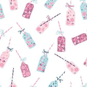 Lemonade pattern.  seamless pattern in simple hand-drawn scandinavian style with bottles