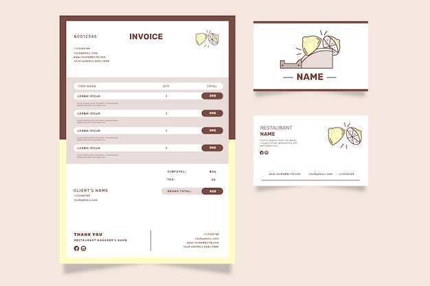 Lemonade shop invoice template