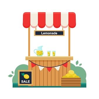 レモネードスタンド。レモンの販売に署名します。夏の冷たい飲み物