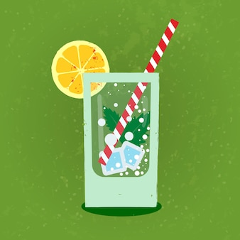 Lemonade with ice in glass glass on green refreshing backgroundvintage vector flat in retro style