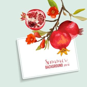 レモンと花のカード。フルーツの背景