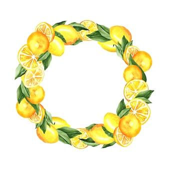Лимоны и листья венок акварельные иллюстрации
