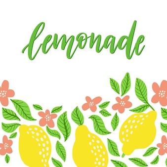 레몬 프레임과 레모네이드 글자. 집에서 만든 레모네이드 로고와 포스터, 카드, 인용문, 인쇄, 포장, 배지용 기호. 벡터 일러스트 레이 션 흰색 배경에 고립입니다. 꽃 프레임에 손으로 그린 로고