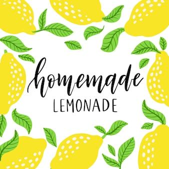 Lemons frame and lemonade lettering. homemade lemonade logo and sign for poster, card, quote, print, packaging, badge. vector illustration isolated on white background. hand drawn logo in floral frame
