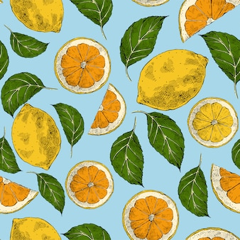 Lemons hand drawn retro vector seamless pattern