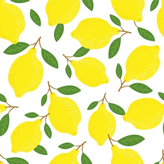 Lemons and leaves seamless pattern, tropical yellow citrus.