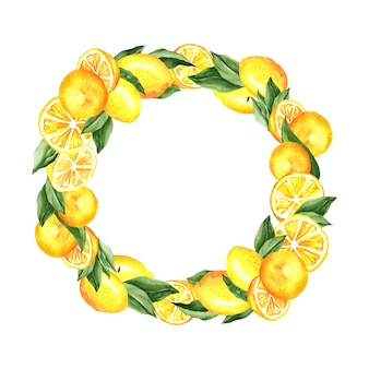 Lemons and leaves wreath watercolor illustration