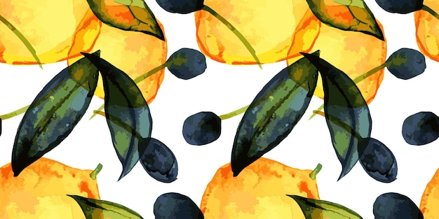 Lemons and olives seamless pattern with traced watercolor