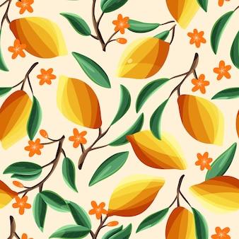 木の枝にレモン、シームレスなパターン。ベージュの背景に、熱帯の夏の果物。抽象的なカラフルな手描きイラスト。