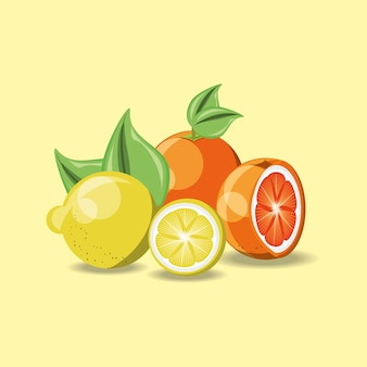 Lemons and orange over yellow background