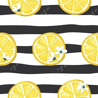 Lemons on stirped seamless  pattern