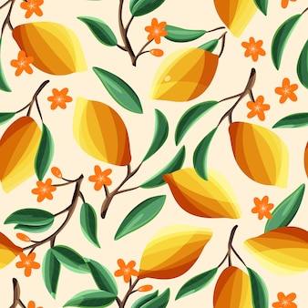 Lemons on tree branches, seamless pattern. tropical summer fruit, on beige background. abstract colorful hand drawn illustration.