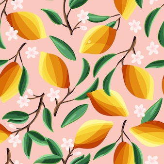 Lemons on tree branches, seamless pattern. tropical summer fruit, on pink background. abstract colorful hand drawn illustration.
