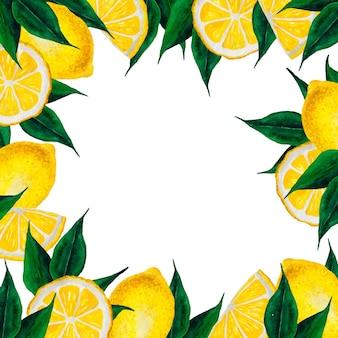 Lemons watercolor hand drawn frame