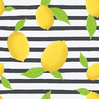 Lemons with leaves seamless pattern vector illustration