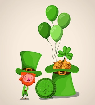 Lemprechaun character with tophat saint patricks day
