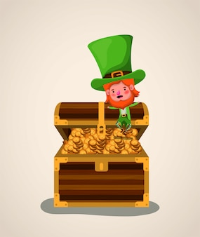 Lemprechaun character with treasure chest saint patricks day