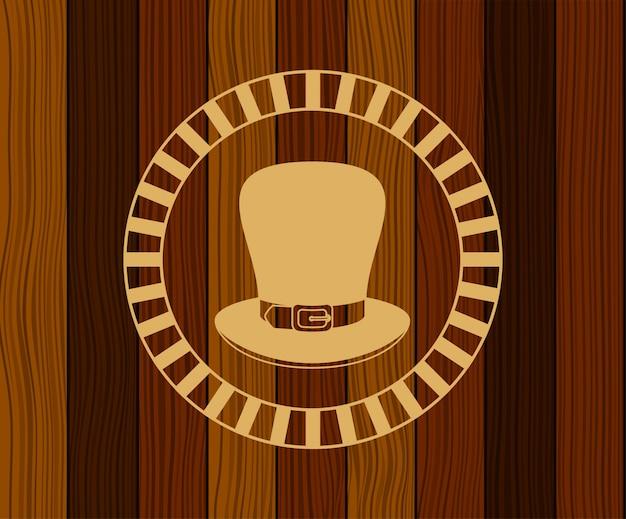 木製の背景を持つlemprechaun帽子聖パトリック