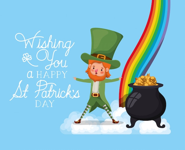 Lemprechaun with rainbow saint patricks day font