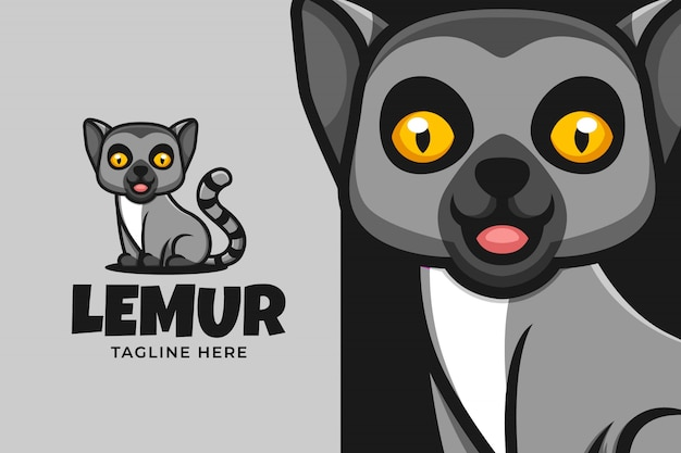 Лемур мультфильм illsutration логотип для животных